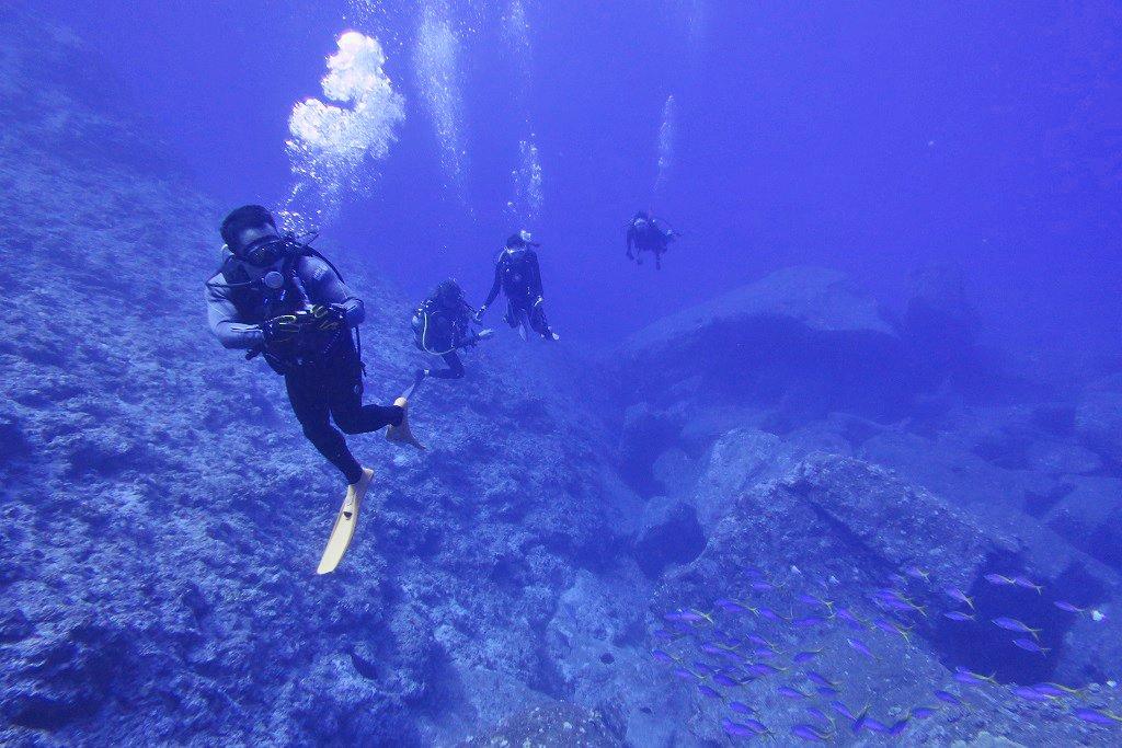 トンバラブルーの海とダイバー