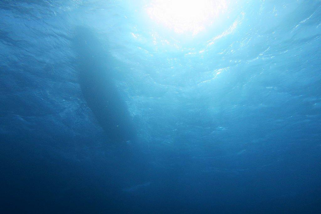 水中から船を見上げる