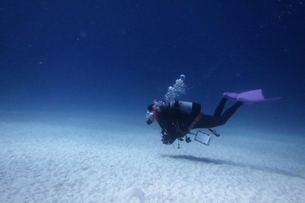 砂地でダイビング