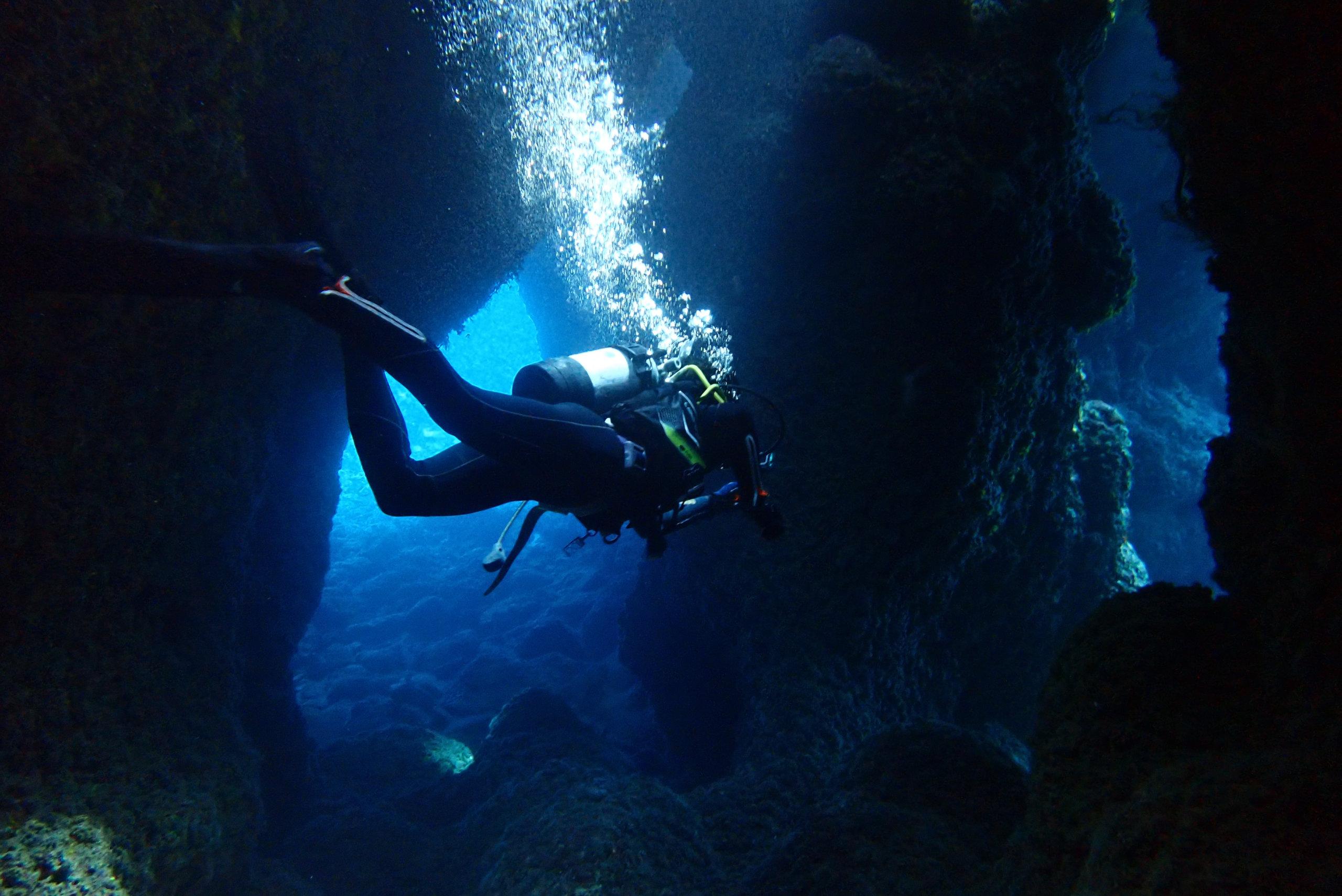 水中洞窟を探検