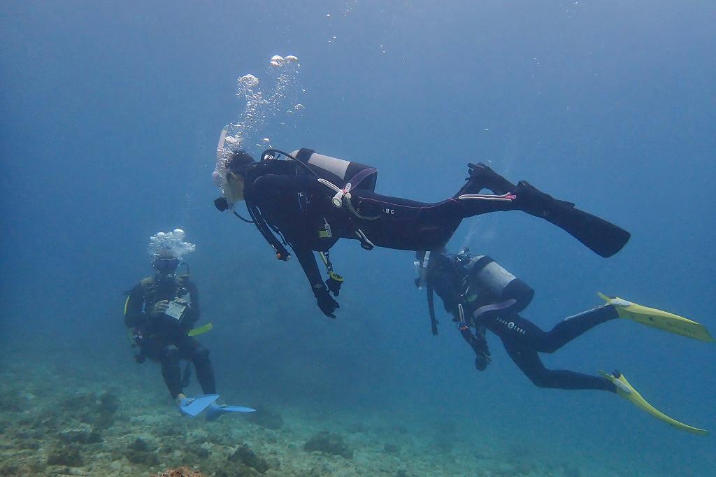 深い海での練習